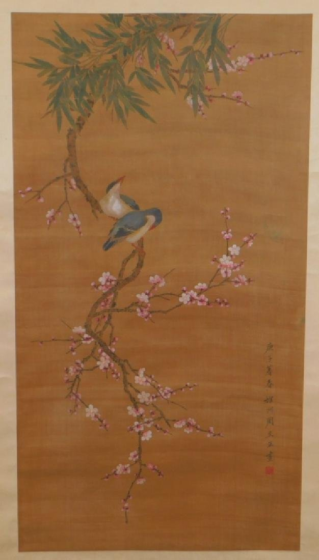 Chinese Silk Scroll Avian Cherry Blossom Painting