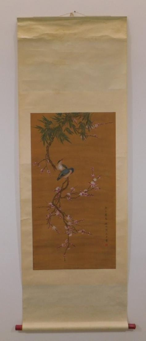 Chinese Silk Scroll Avian Cherry Blossom Painting - 2