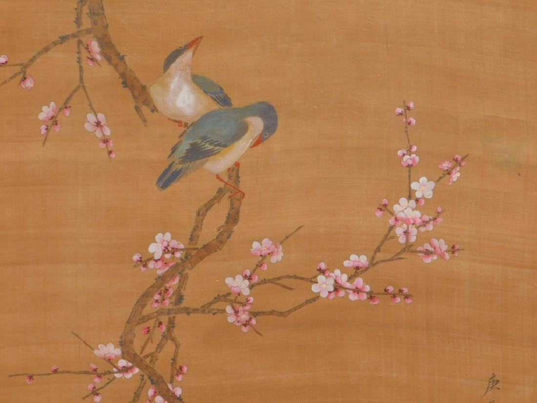 Chinese Silk Scroll Avian Cherry Blossom Painting - 3