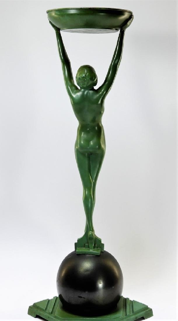 Frankart Art Deco Metal Nude Female Smoking Stand - 5