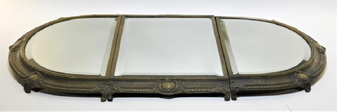 19C. French Bronze Plateau Mirror Dresser Tray