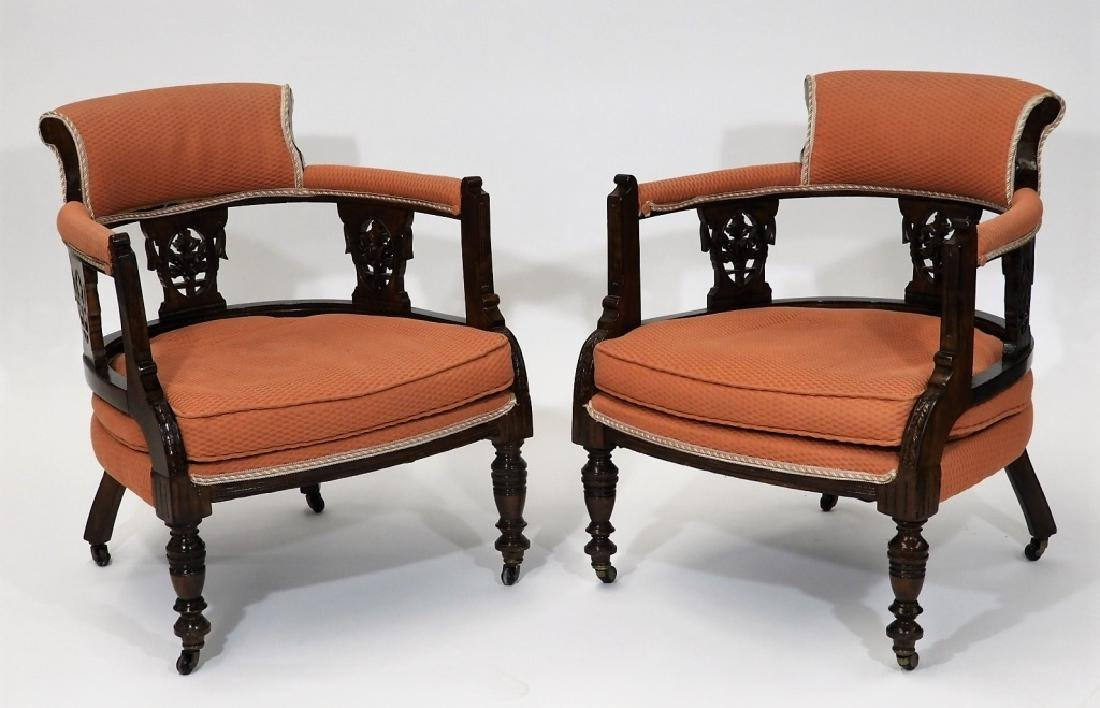 PR Victorian Aesthetic Carved Walnut Side Chairs