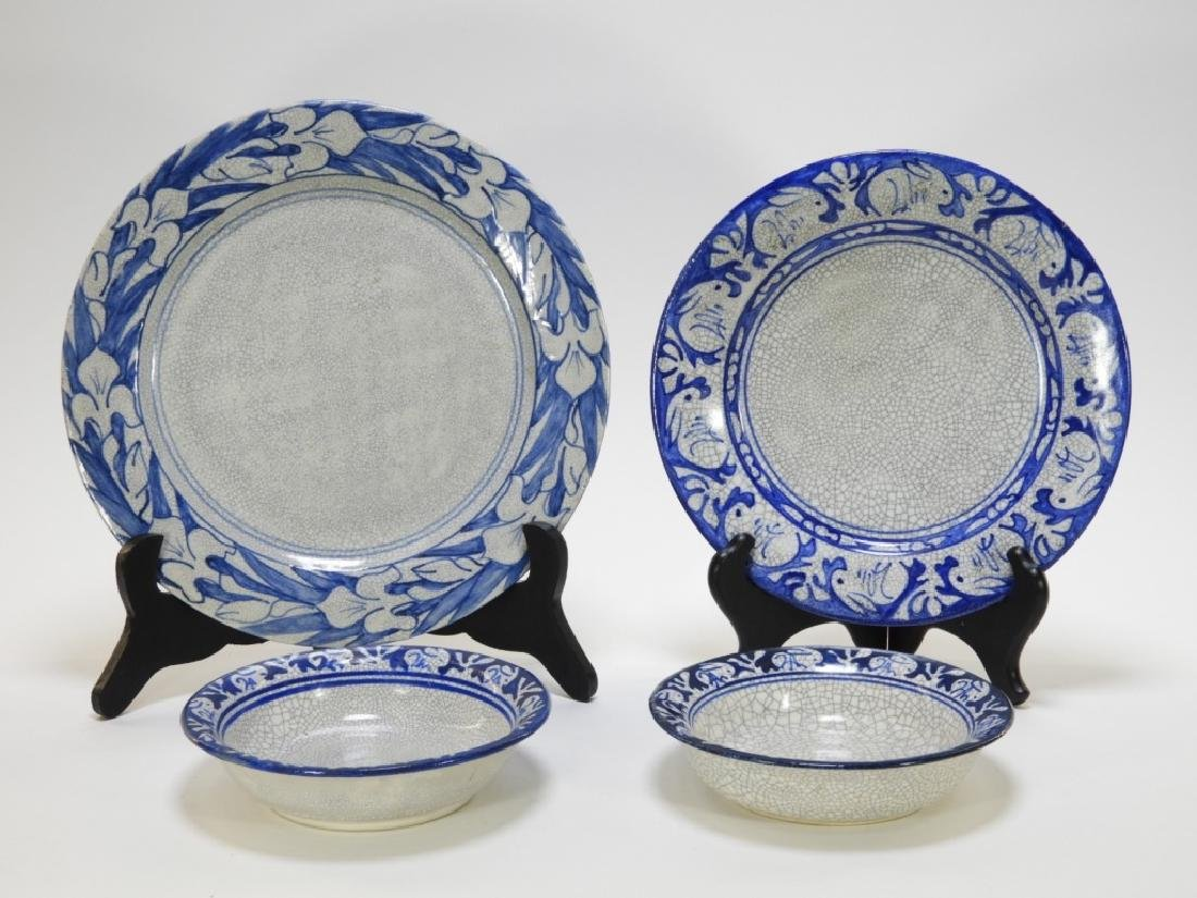 Dedham Pottery Rabbit Iris Plate Bowl Grouping
