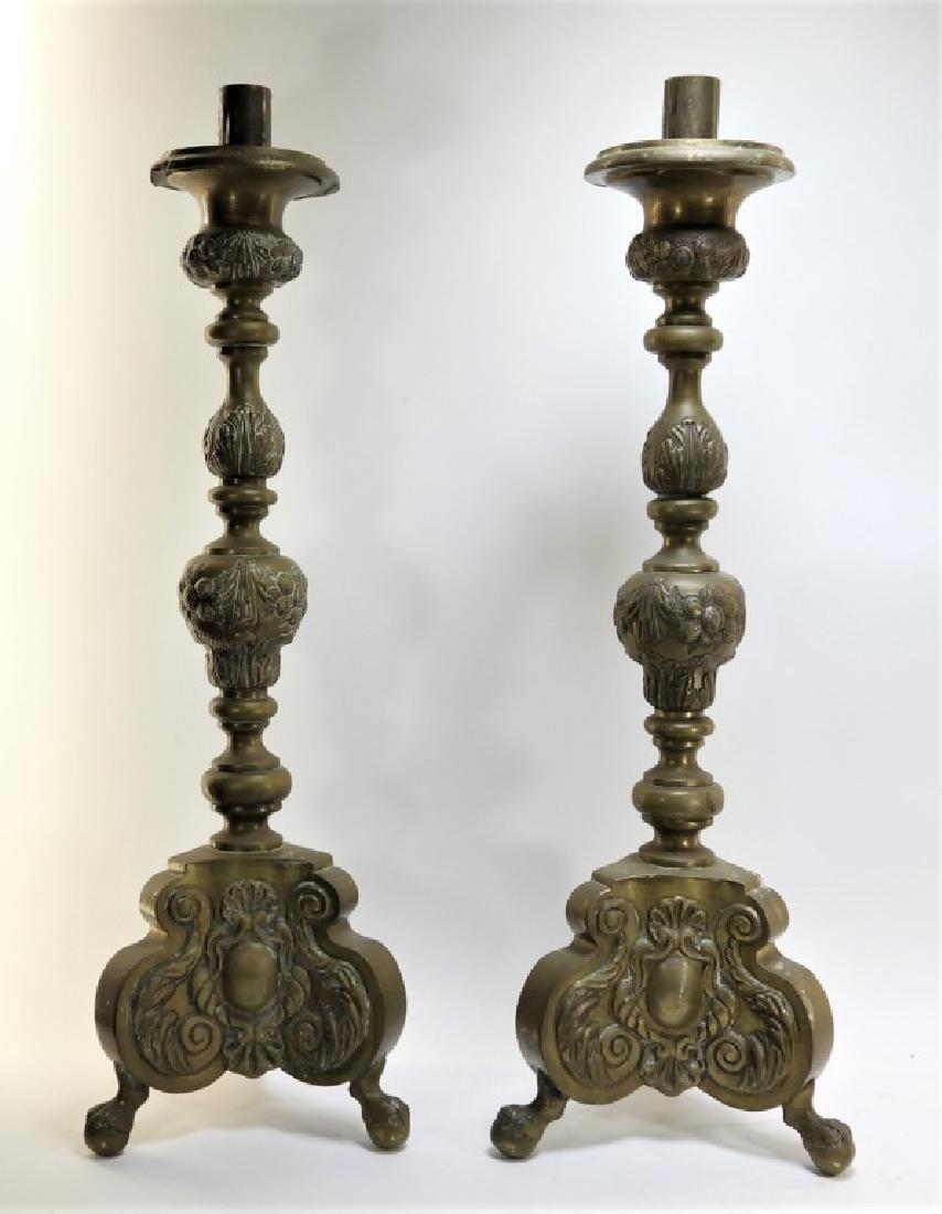 PR. European Repousse Pomologic Brass Candlesticks