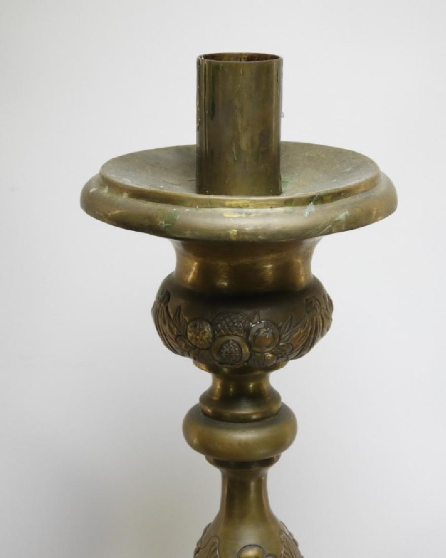 PR. European Repousse Pomologic Brass Candlesticks - 2