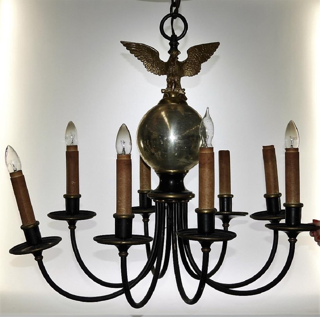 PR American Federal Style Eagle 8 Arm Chandeliers