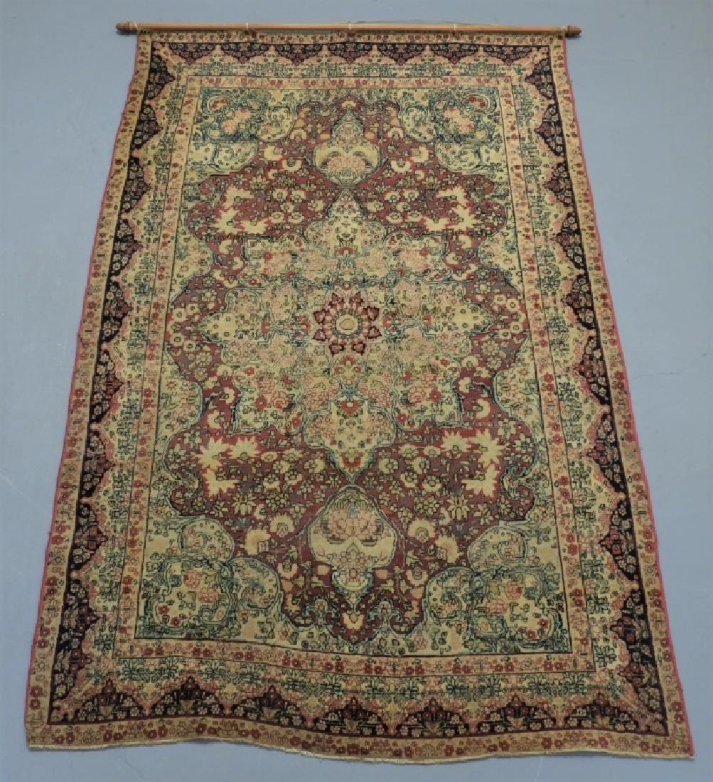Oriental Persian Lavar Kerman Silk Wool Carpet Rug