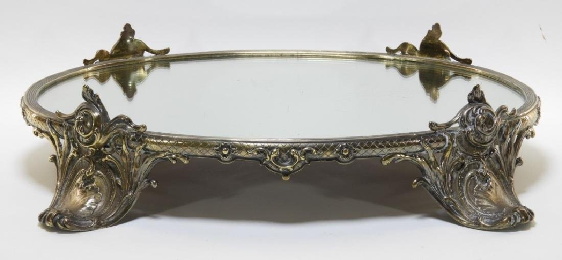 Victorian Silverplate Plateau Mirror Dresser Tray