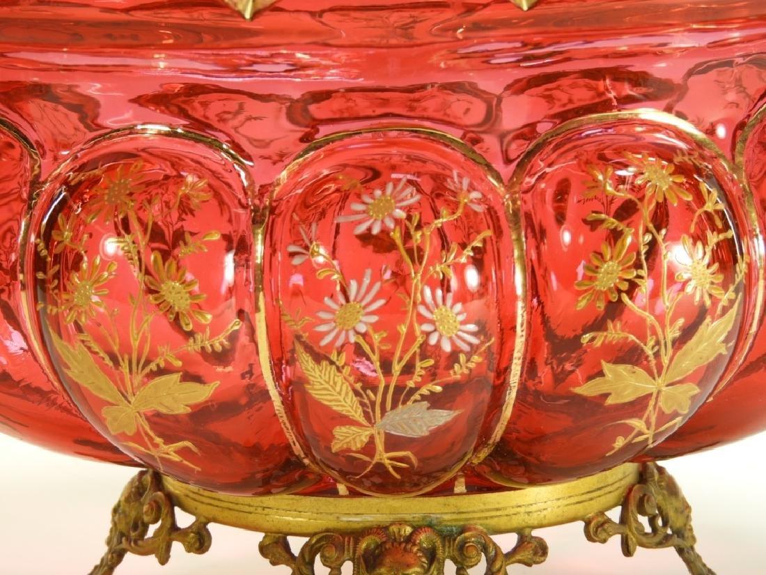 Moser Enamel Cranberry Glass Center Bowl - 2