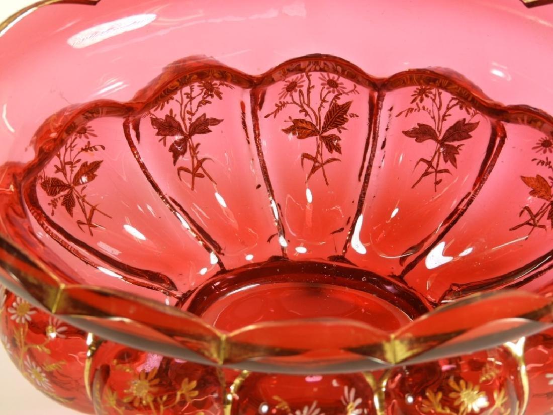 Moser Enamel Cranberry Glass Center Bowl - 4