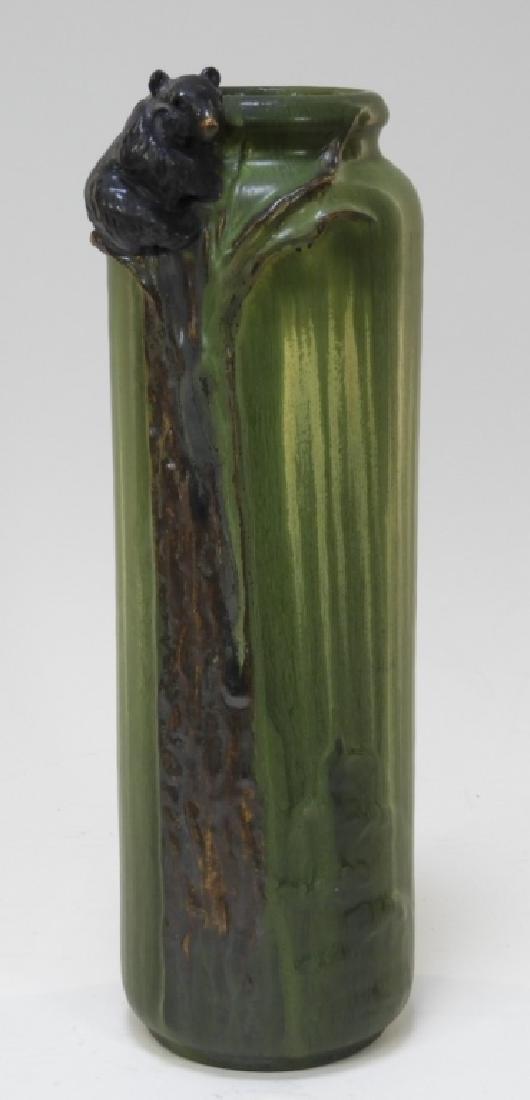 Laura Klein Ephraim Faience Pottery Bear Cub Vase