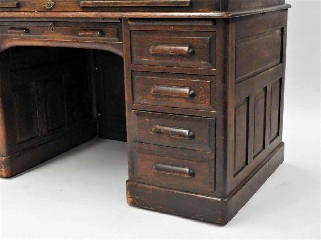 "Victorian Oak 60"" S Roll Top Raised Panel Desk - 3"