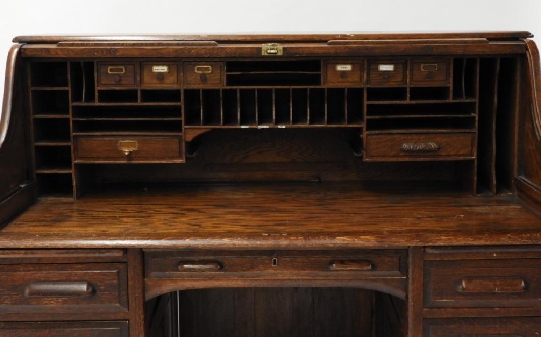 "Victorian Oak 60"" S Roll Top Raised Panel Desk - 5"