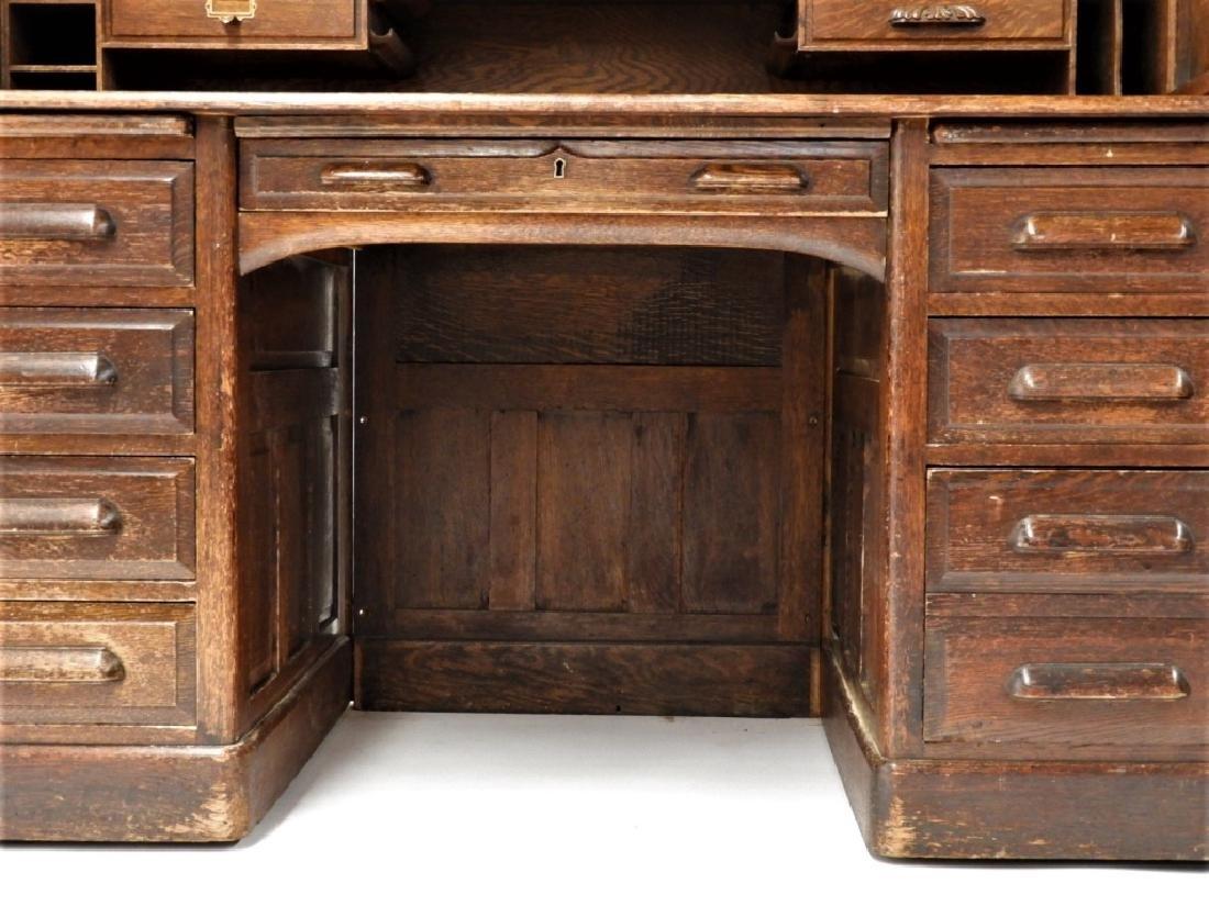 "Victorian Oak 60"" S Roll Top Raised Panel Desk - 6"
