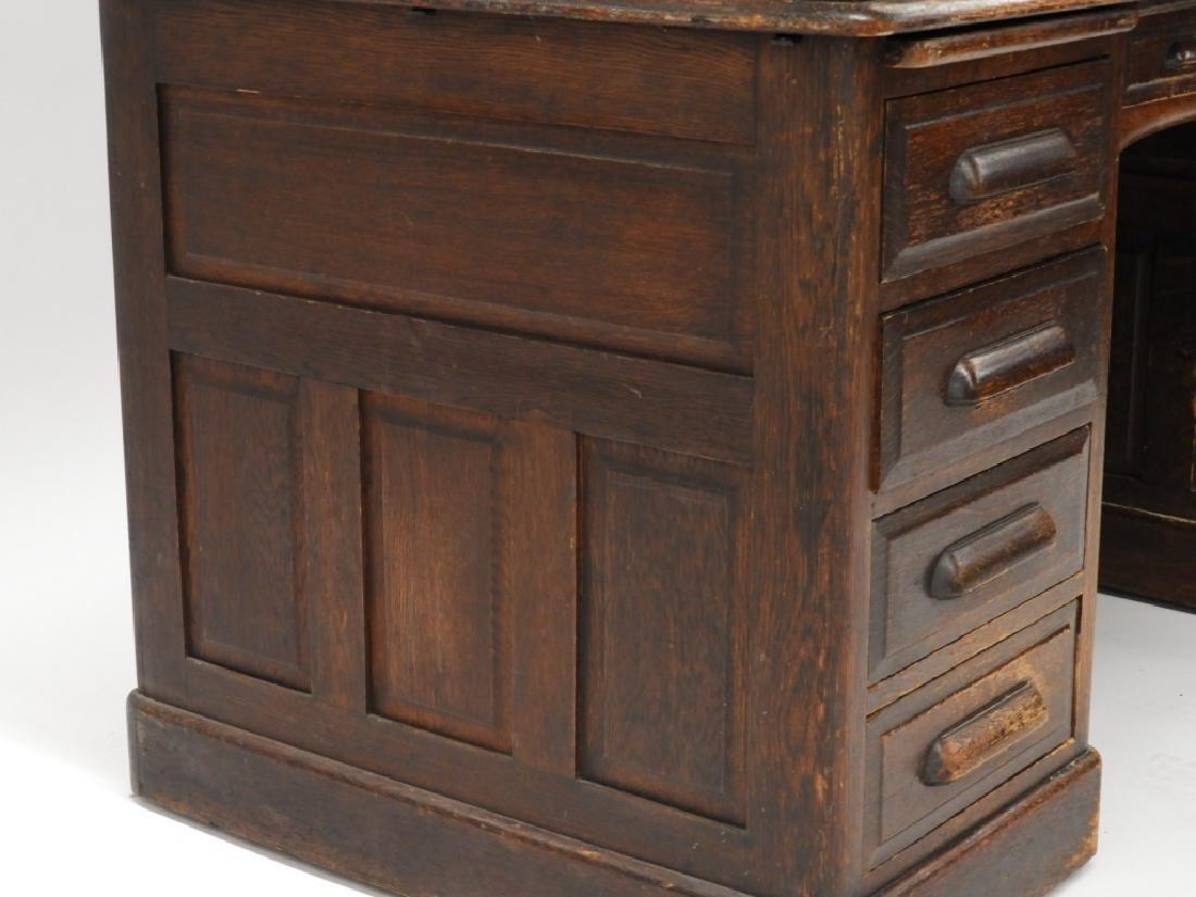 "Victorian Oak 60"" S Roll Top Raised Panel Desk - 7"