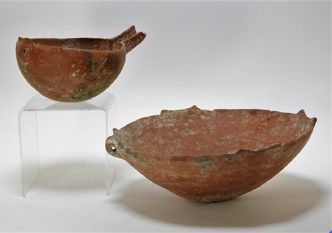 2 Cypriot Ancient Earthenware Pottery Vessels