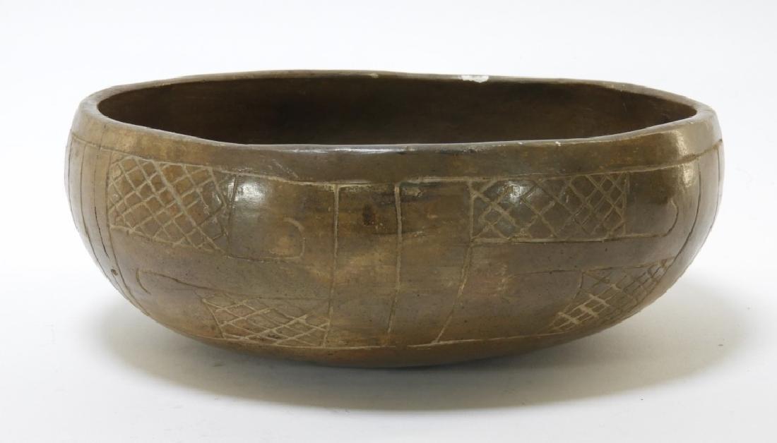 Ancient Chavin Peruvian Earthenware Pottery Bowl