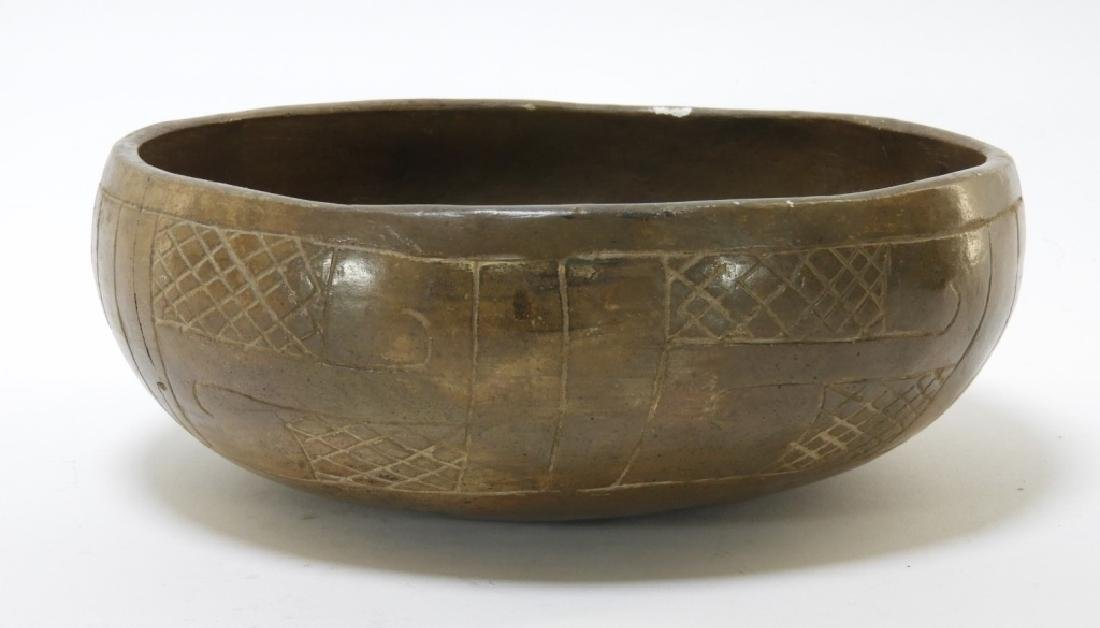Ancient Chavin Peruvian Earthenware Pottery Bowl