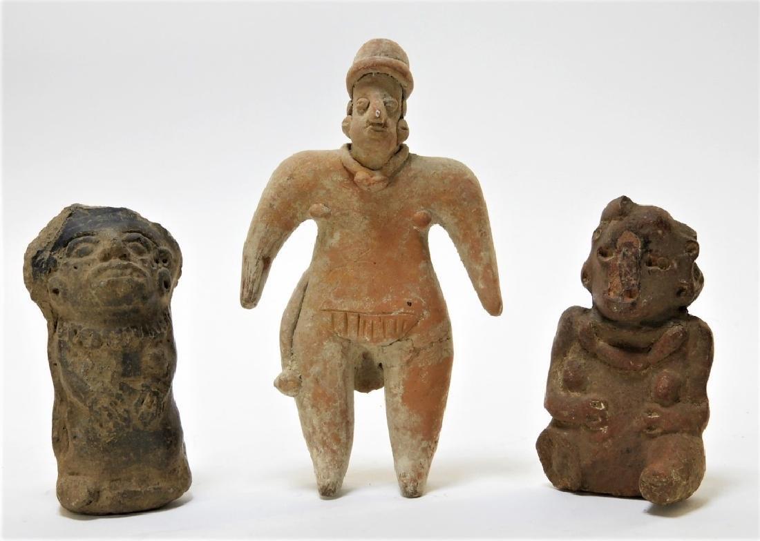 3 Ancient Pre Columbian Pottery Earthenware Figure