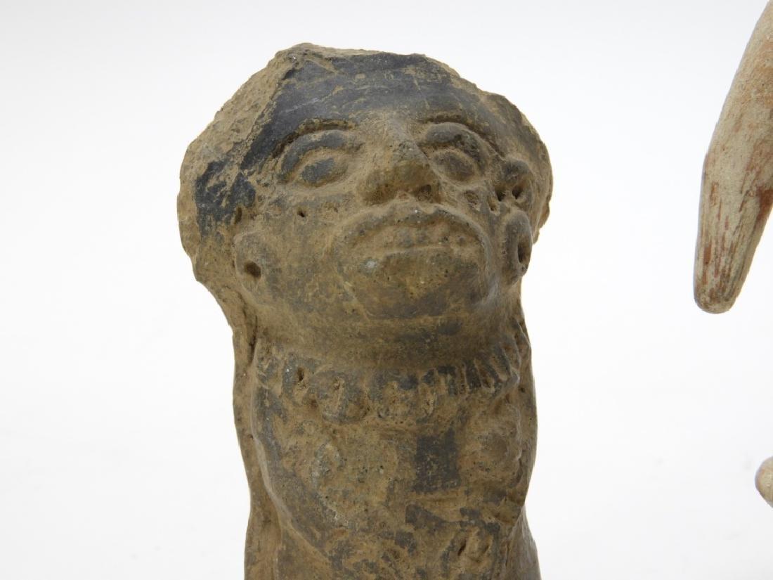 3 Ancient Pre Columbian Pottery Earthenware Figure - 3