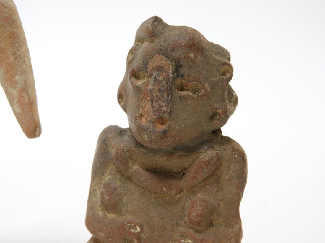 3 Ancient Pre Columbian Pottery Earthenware Figure - 4