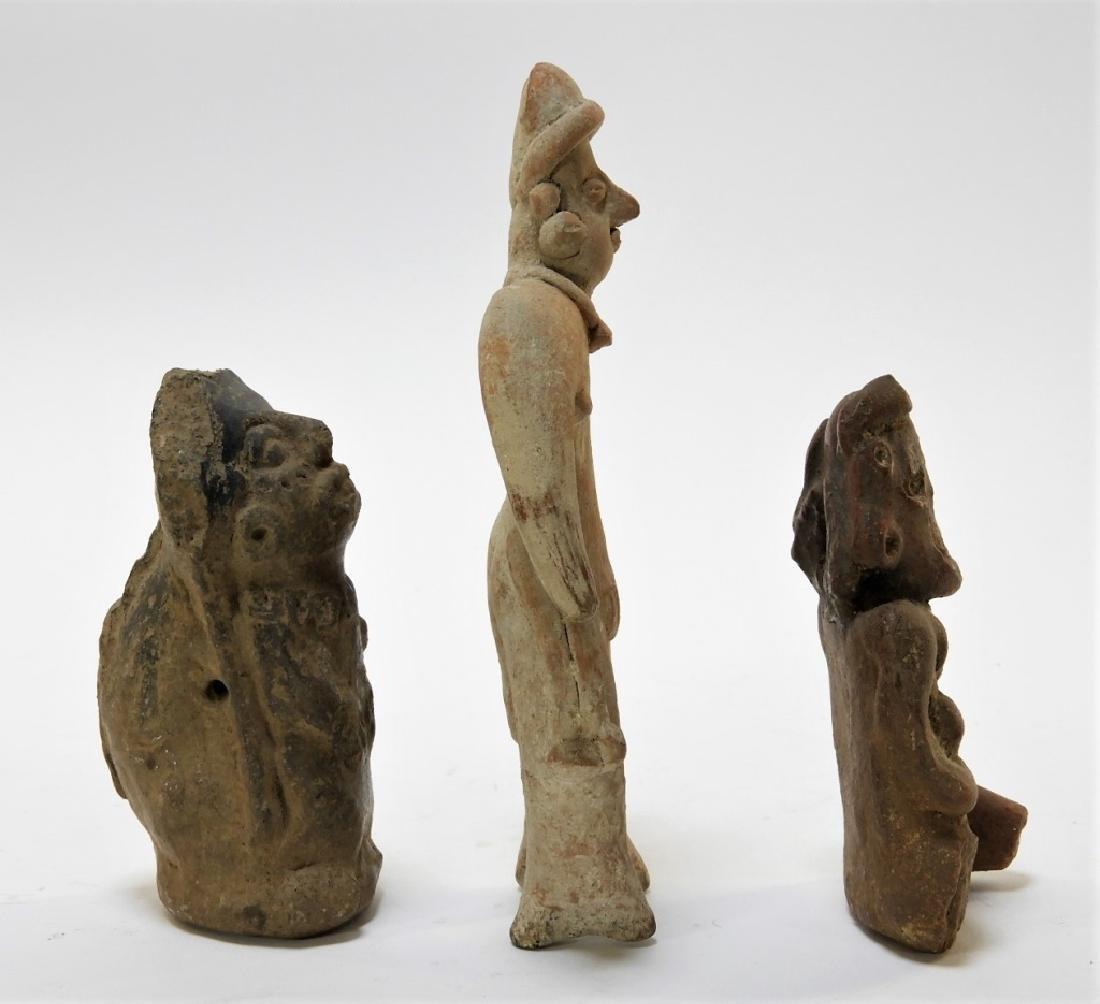 3 Ancient Pre Columbian Pottery Earthenware Figure - 5