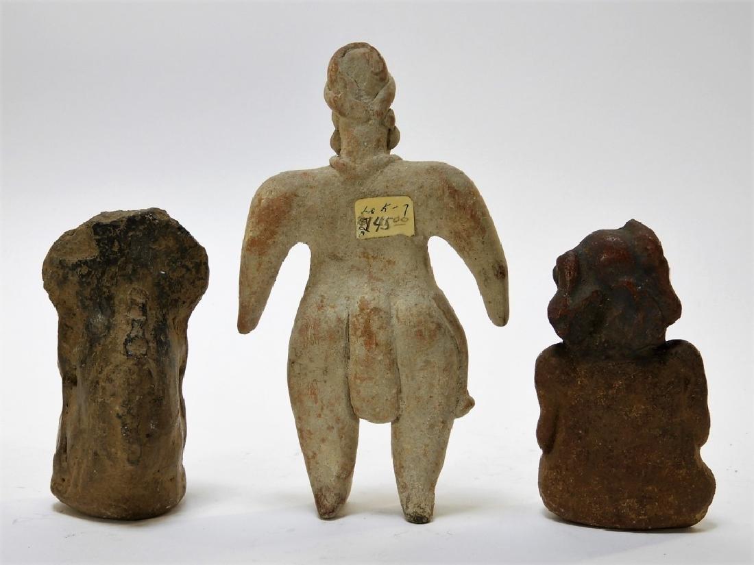 3 Ancient Pre Columbian Pottery Earthenware Figure - 6