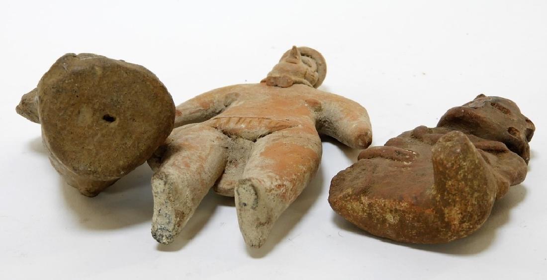 3 Ancient Pre Columbian Pottery Earthenware Figure - 7