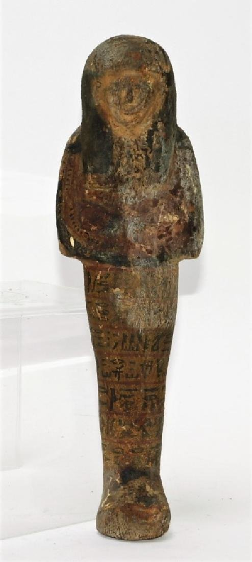 Ancient Egyptian Polychrome Carved Wood Ushabti