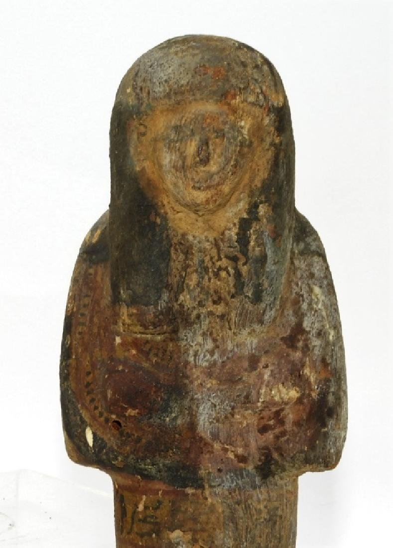 Ancient Egyptian Polychrome Carved Wood Ushabti - 2