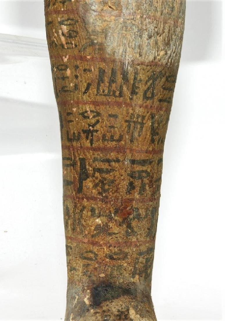 Ancient Egyptian Polychrome Carved Wood Ushabti - 3