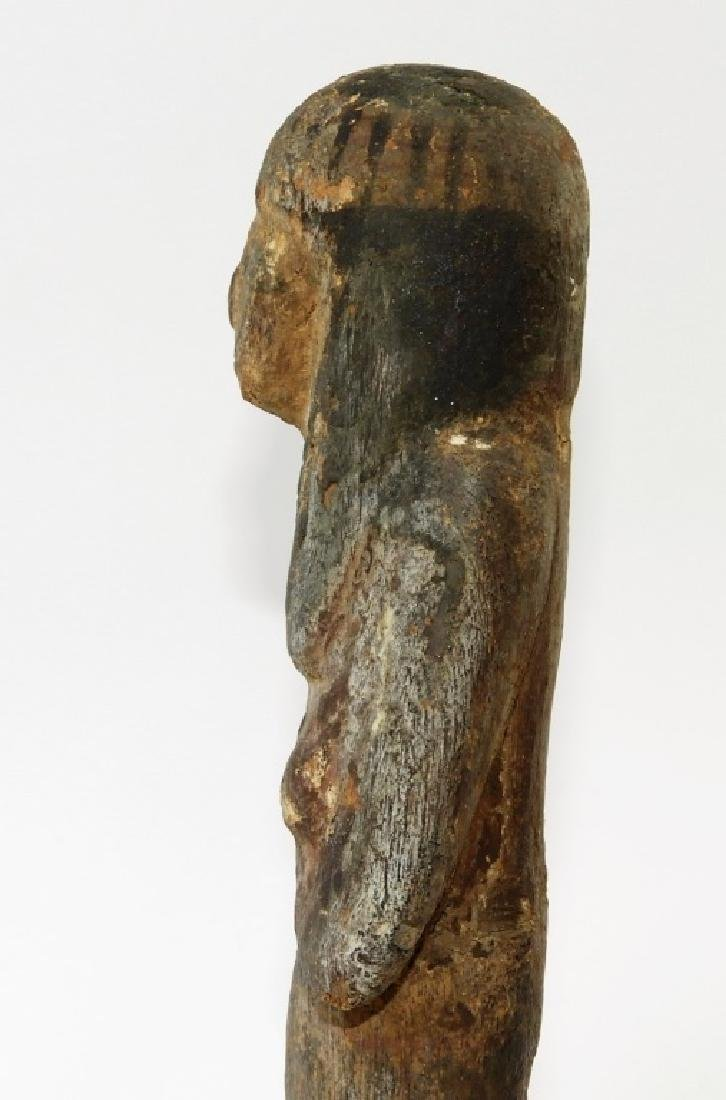 Ancient Egyptian Polychrome Carved Wood Ushabti - 5