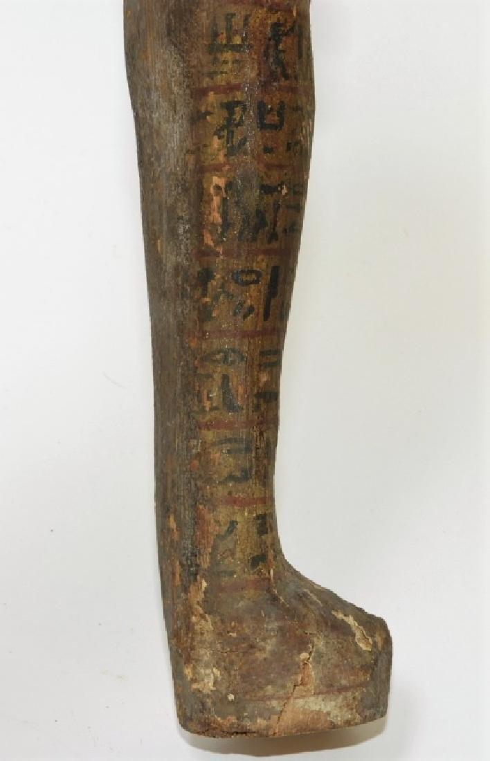 Ancient Egyptian Polychrome Carved Wood Ushabti - 7
