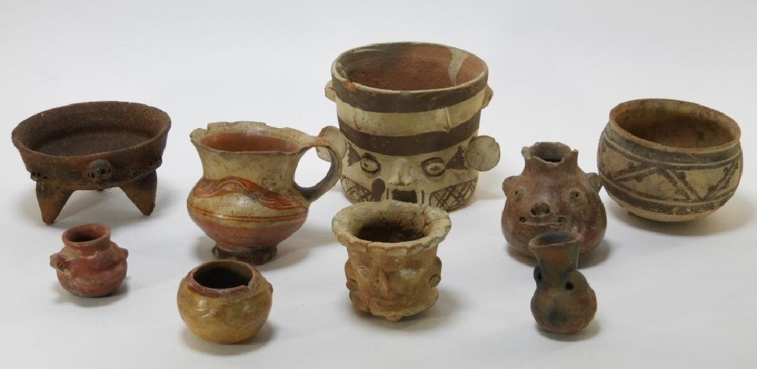9PC Ancient Pre Columbian Pottery Vessel Group