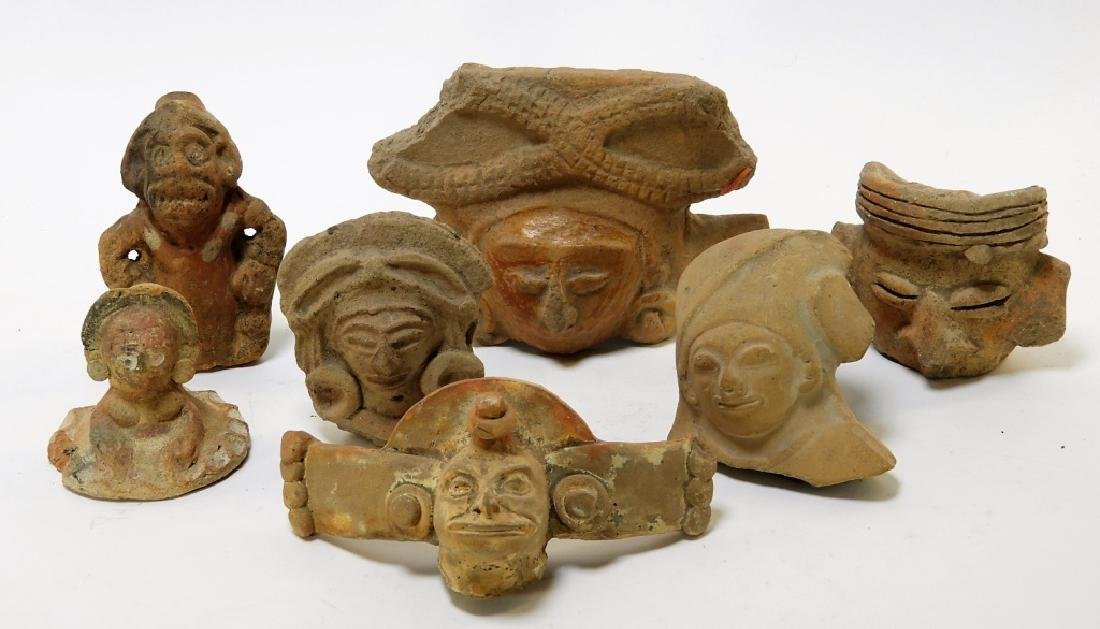 7PC Group Ancient Pre Columbian Pottery Figures