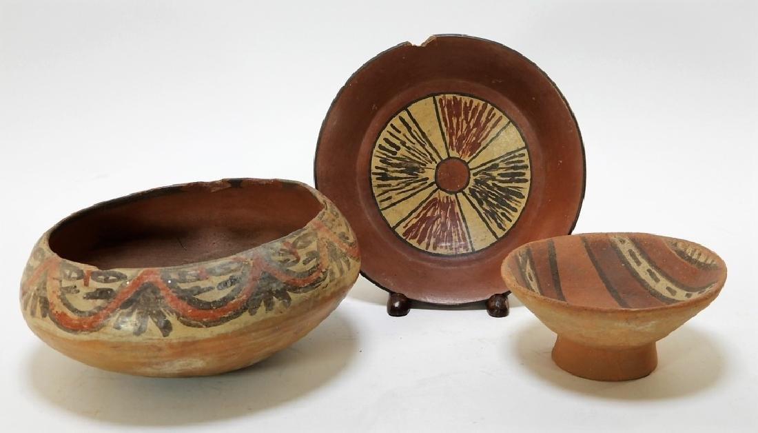 Three Pre-Columbian Pottery Nazca Culture Bowls