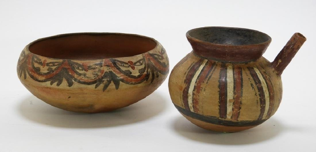 2 Pre Columbian Nazca Pottery Bowl Pouring Vessel