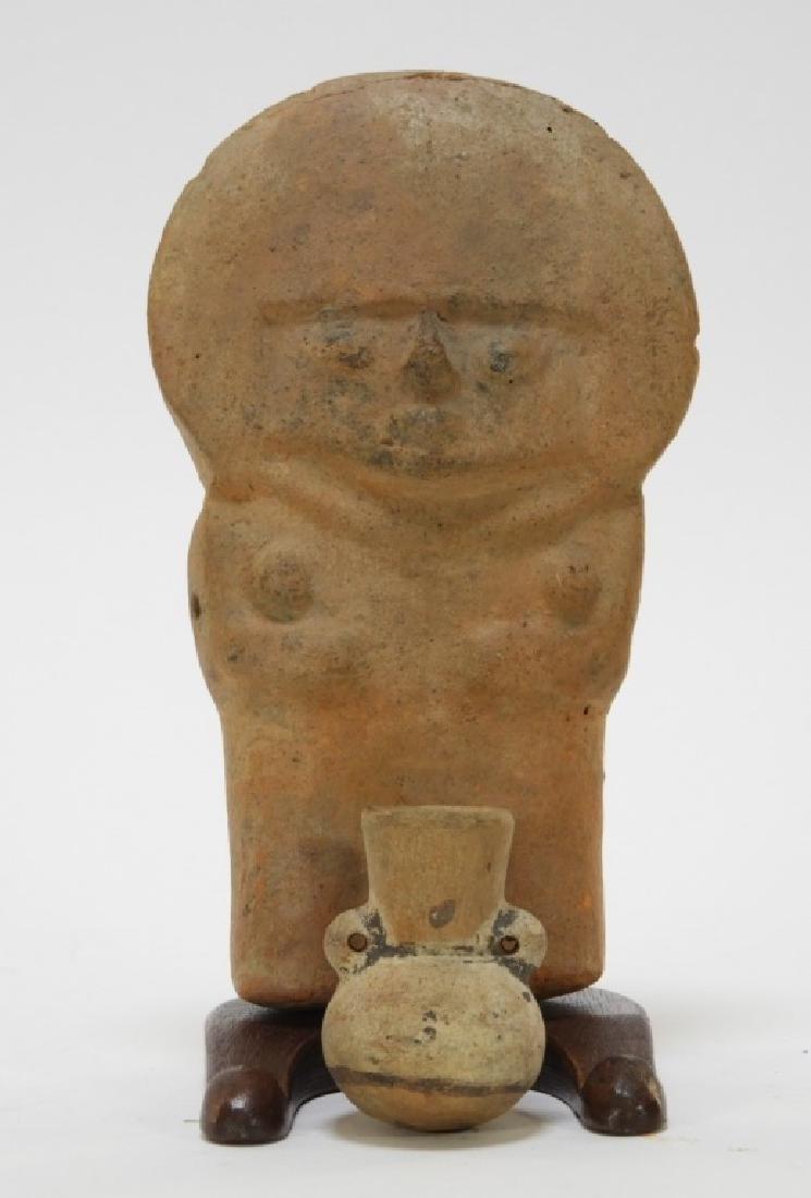2 Pre Columbian Moche Standing Figure & Vase