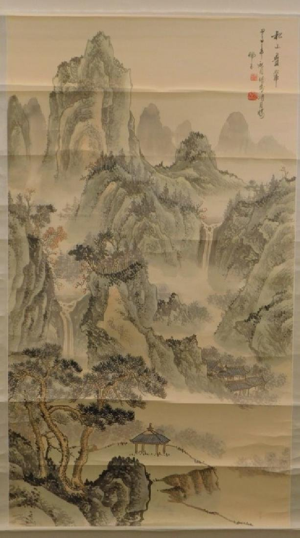 Chinese Mountainous Landscape Silk Scroll Painting