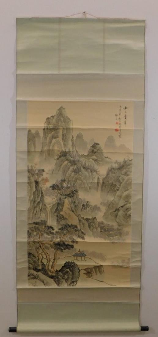 Chinese Mountainous Landscape Silk Scroll Painting - 2