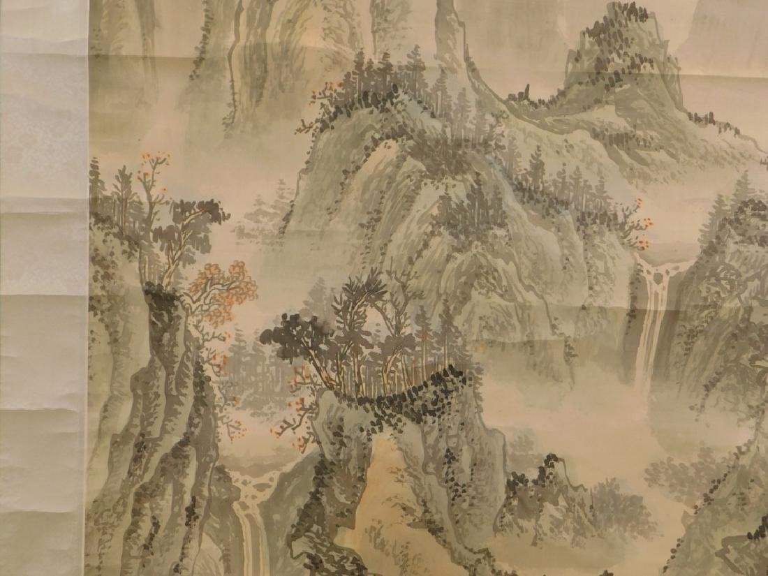Chinese Mountainous Landscape Silk Scroll Painting - 4