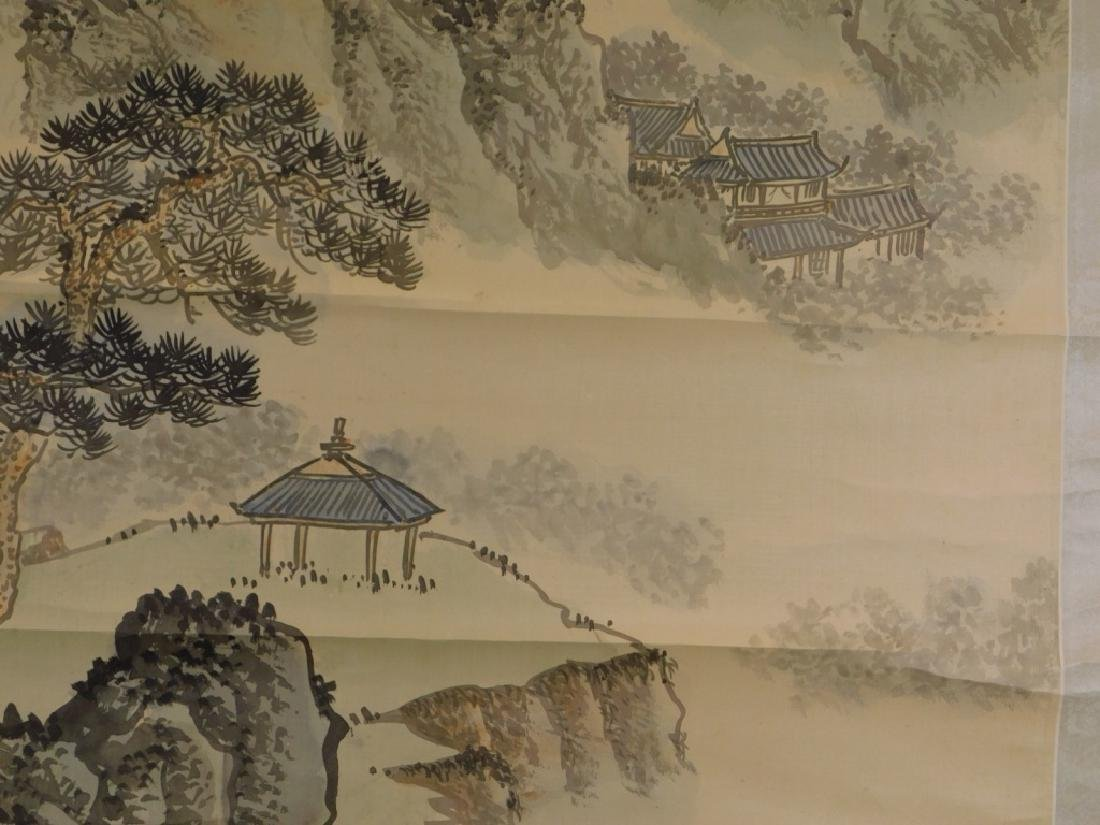 Chinese Mountainous Landscape Silk Scroll Painting - 5