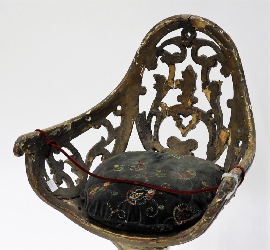 18C Italian Carved Wood Polychrome Gondola Chair - 2