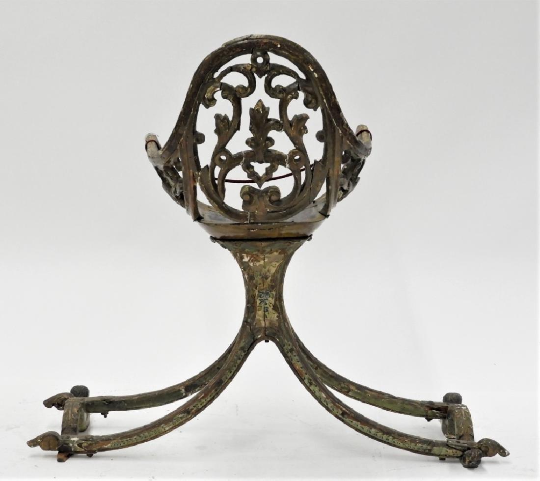 18C Italian Carved Wood Polychrome Gondola Chair - 7