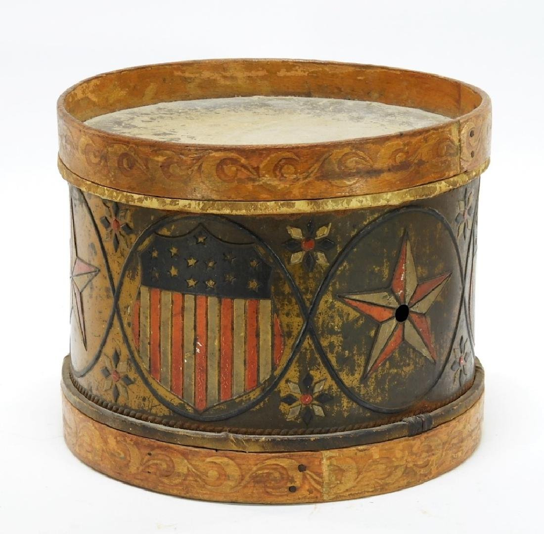 19C. American Folk Tin Lithograph Snare Drum