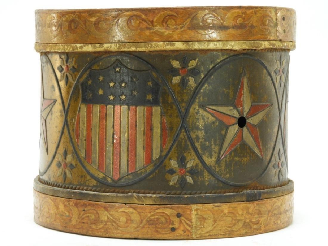 19C. American Folk Tin Lithograph Snare Drum - 2