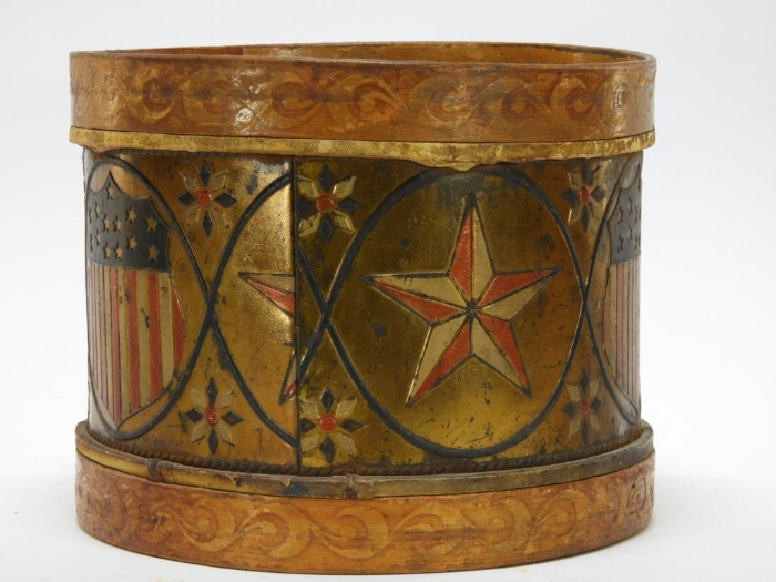 19C. American Folk Tin Lithograph Snare Drum - 3