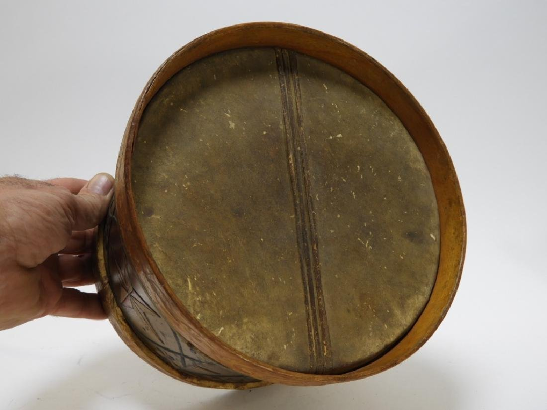 19C. American Folk Tin Lithograph Snare Drum - 6