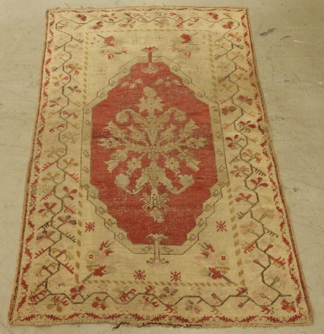 C.1900 Oriental Persian Wool Raspberry Carpet Rug