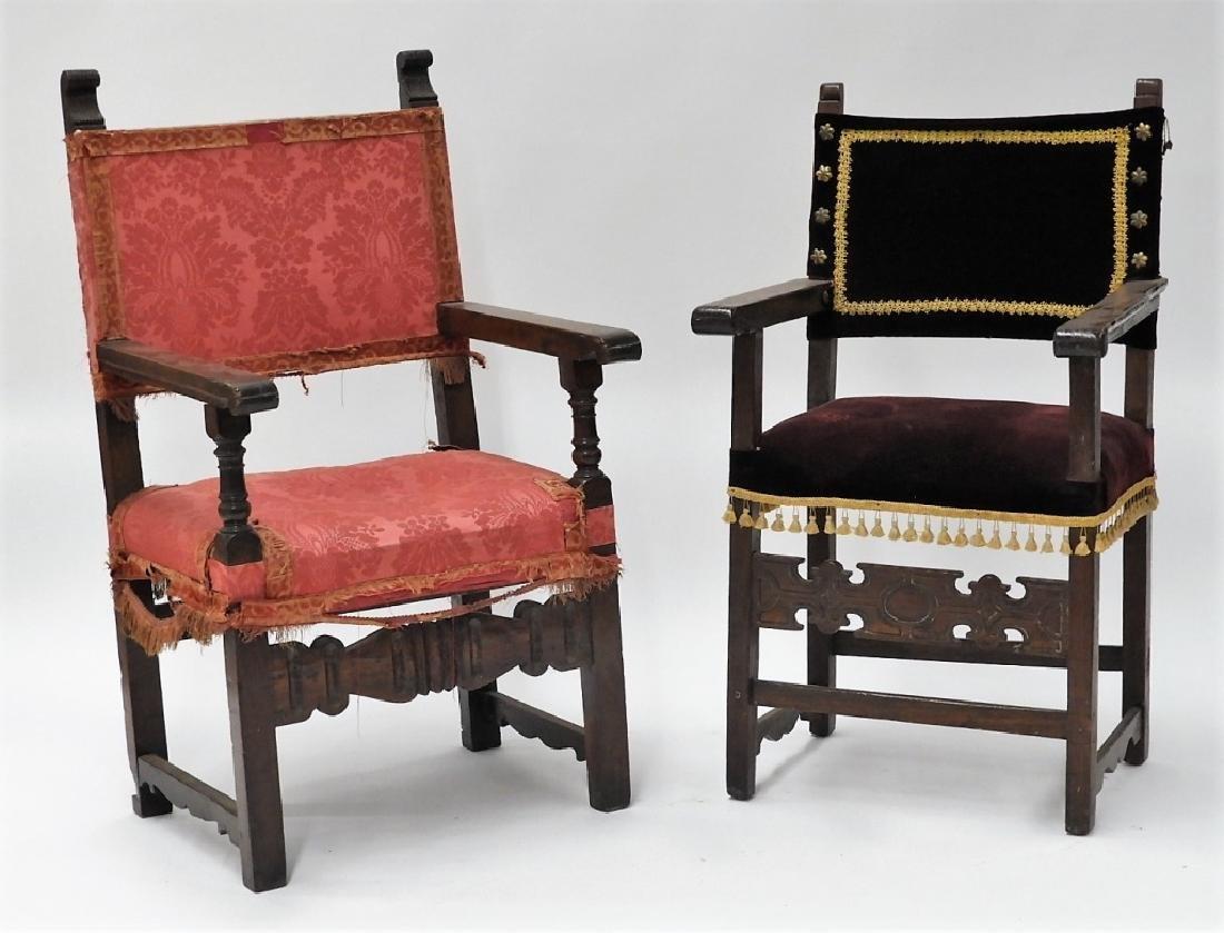 Near PR. Italian Renaissance Walnut Armchairs